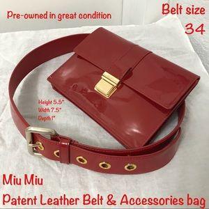 Miu Miu accessories bag and patent leather belt